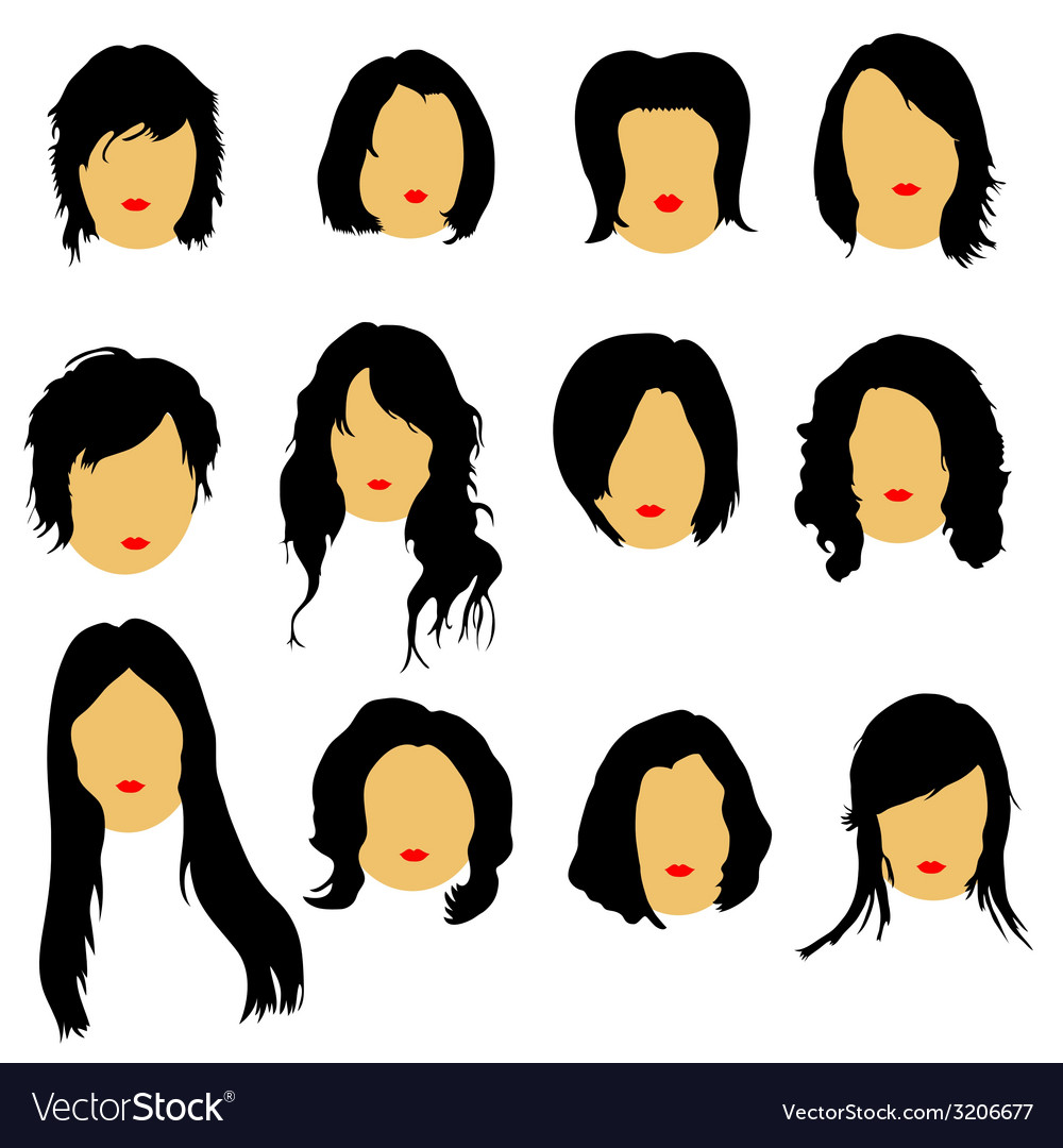 Hairstyles beauty color vector | Price: 1 Credit (USD $1)