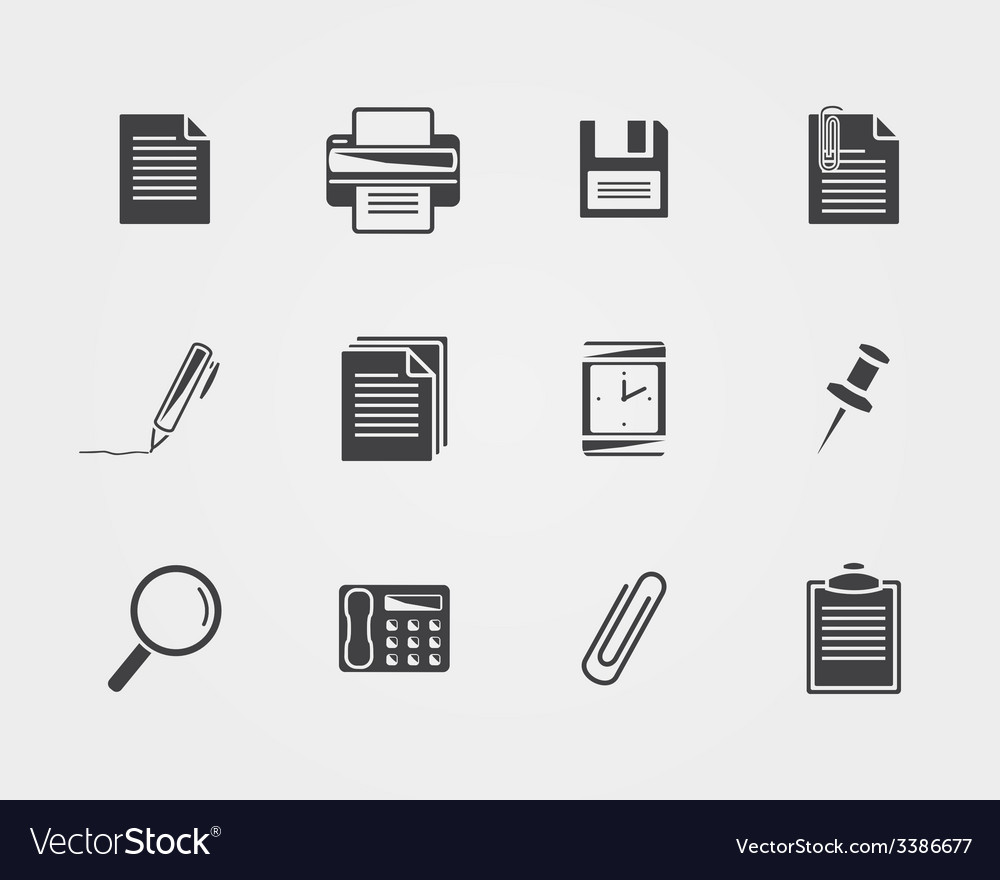 Office iconsblack icons vector | Price: 1 Credit (USD $1)