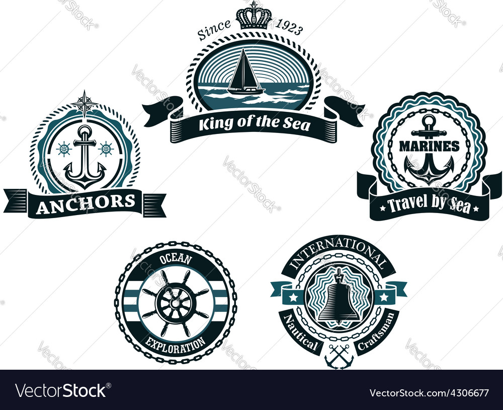 Retro blue nautical labels and badges vector | Price: 1 Credit (USD $1)