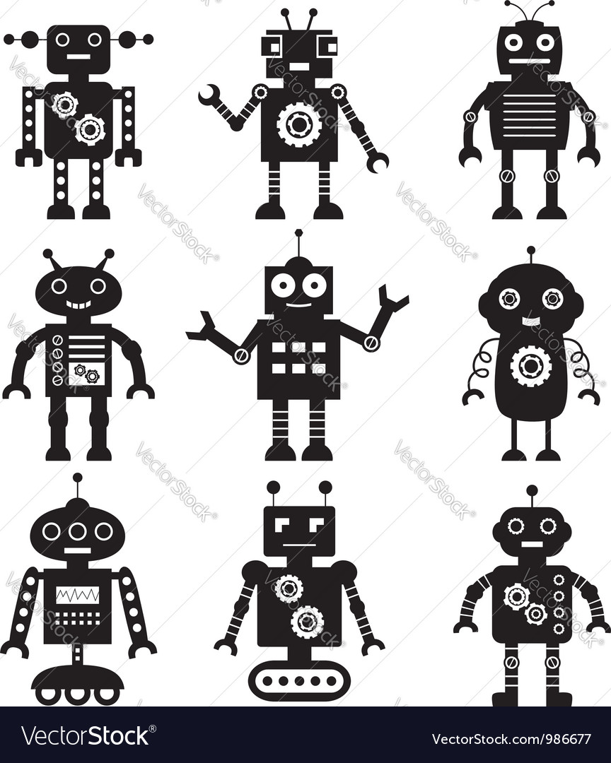 Robot silhouettes set vector | Price: 1 Credit (USD $1)