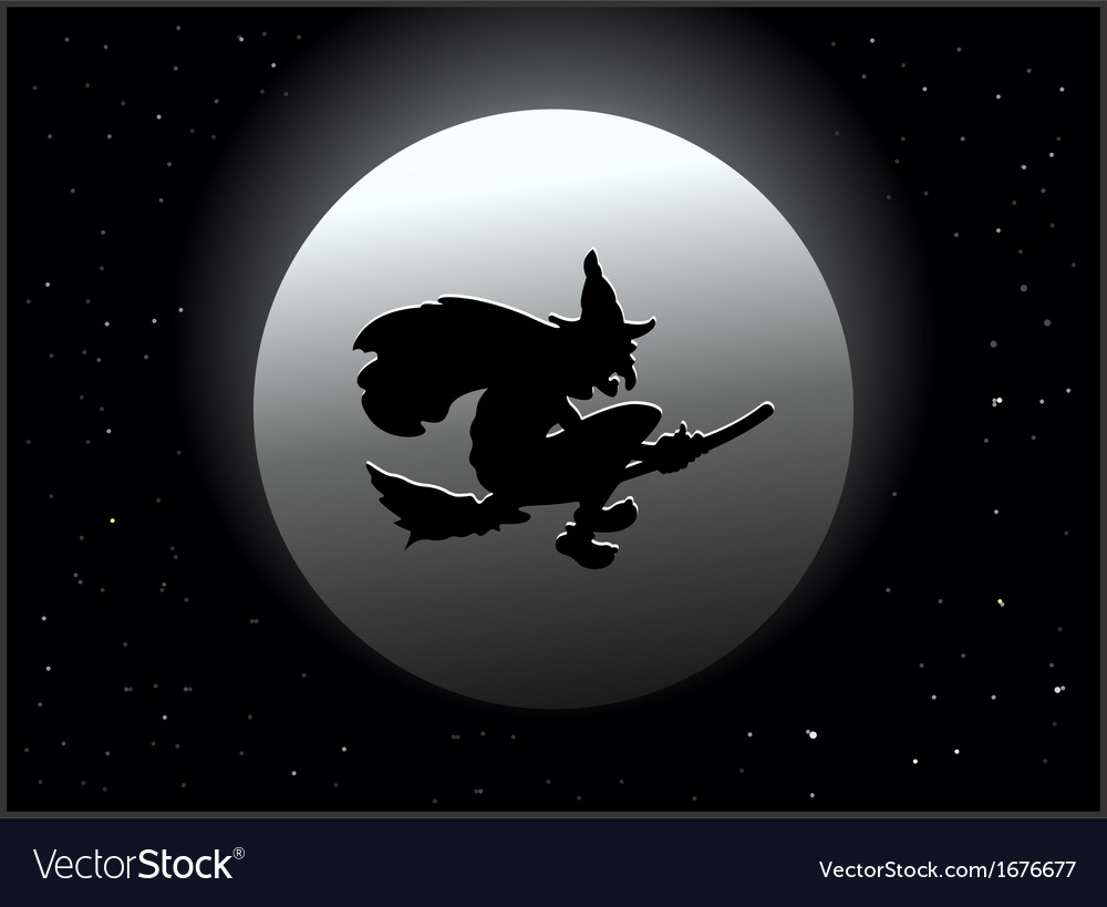 Scary witch flying on broom by moon vector | Price: 1 Credit (USD $1)