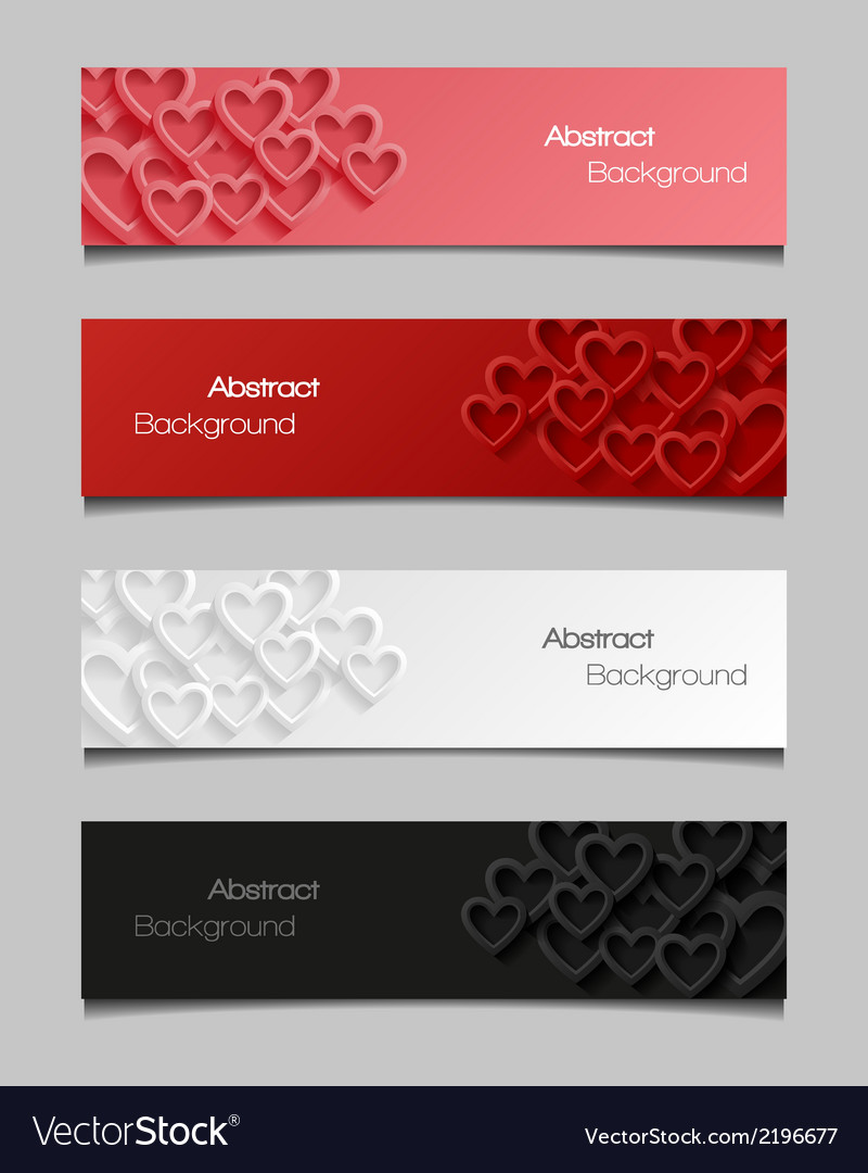 Set of abstract valentine banners vector | Price: 1 Credit (USD $1)