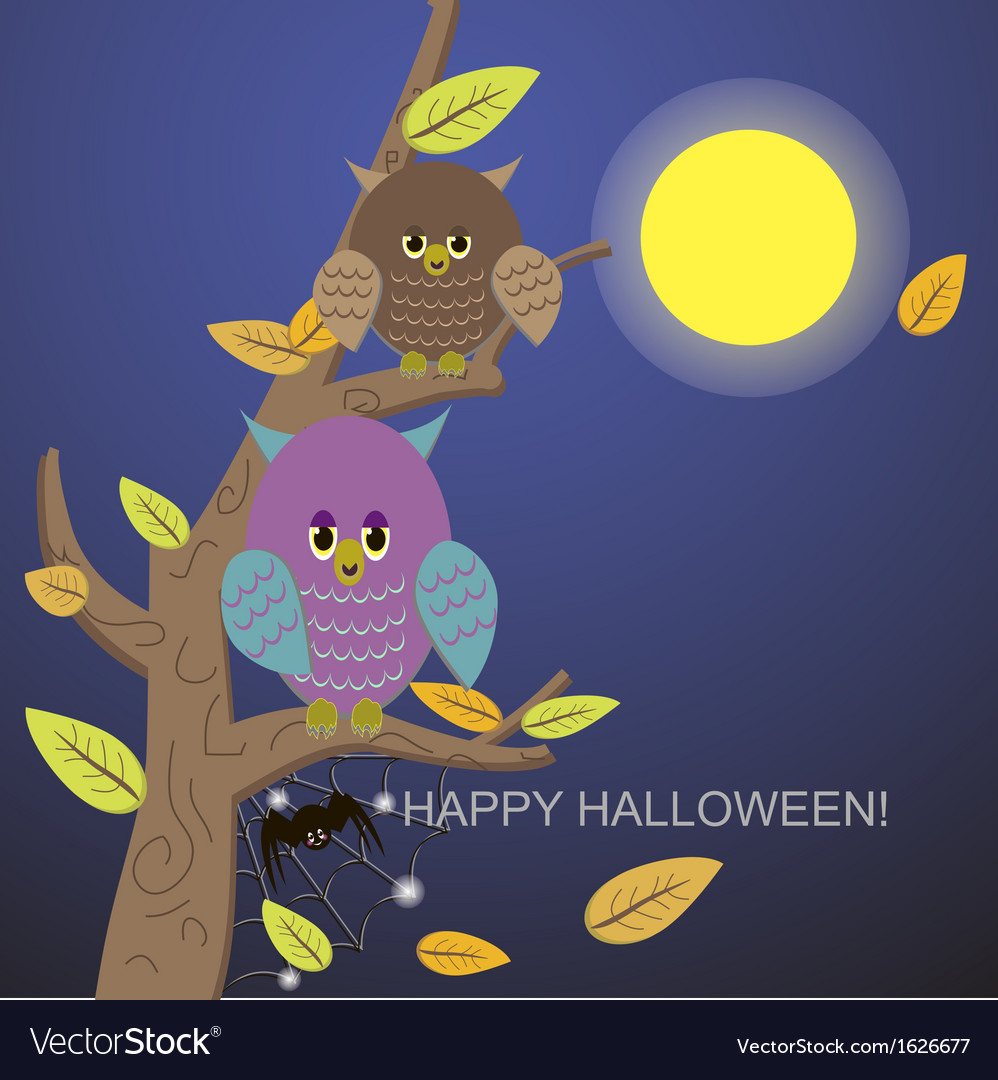 Spiders in the web tree and owl vector | Price: 1 Credit (USD $1)
