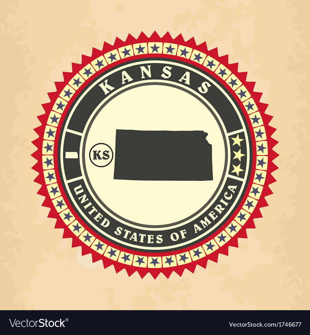 Vintage label-sticker cards of kansas vector | Price: 1 Credit (USD $1)