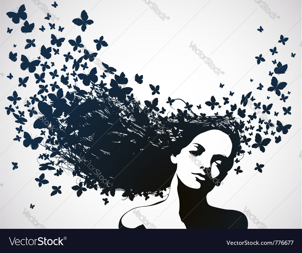 Woman with butterflies flying from her hair vector | Price: 1 Credit (USD $1)