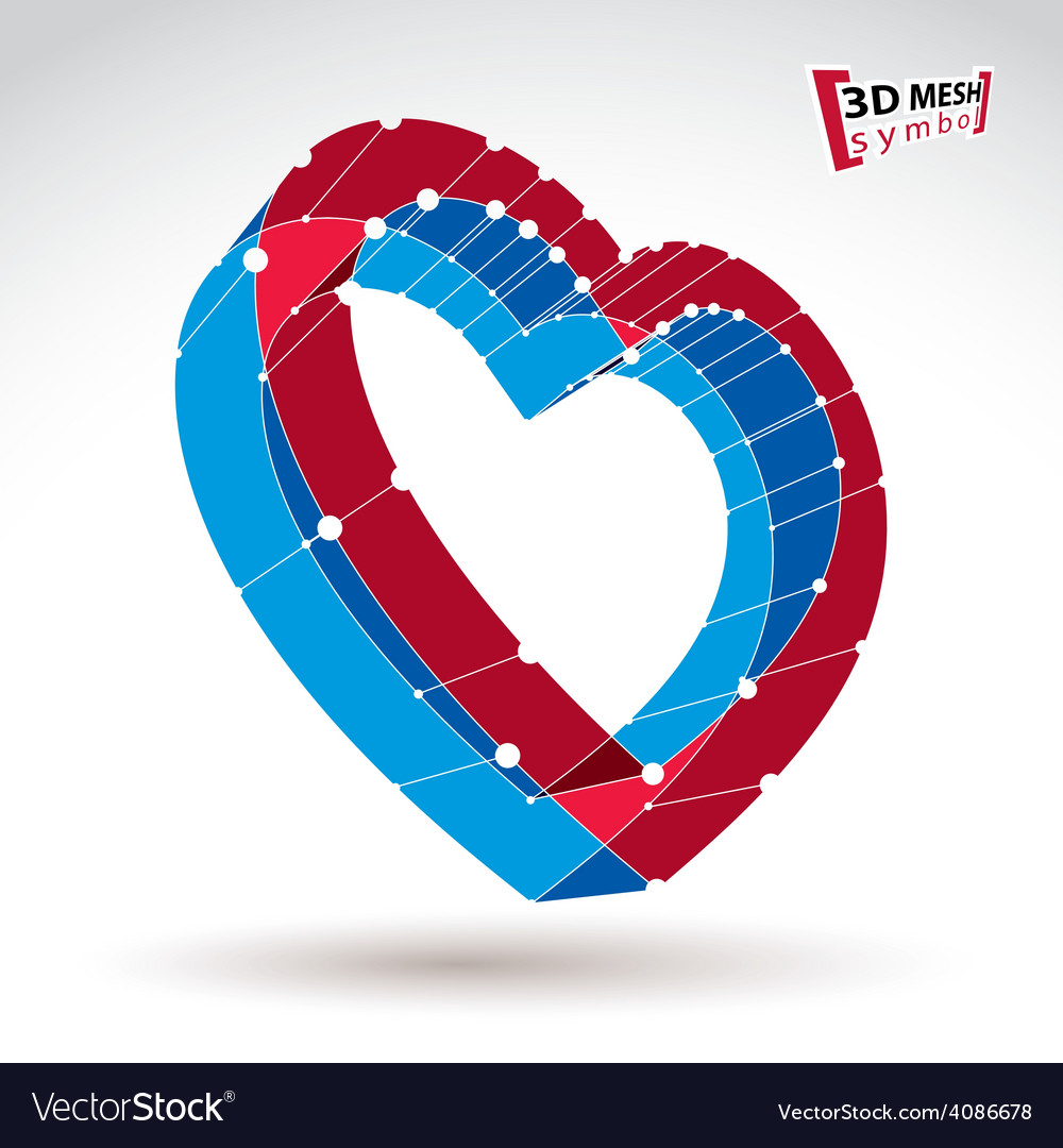 3d mesh stylish web red love heart sign isolated vector   Price: 1 Credit (USD $1)