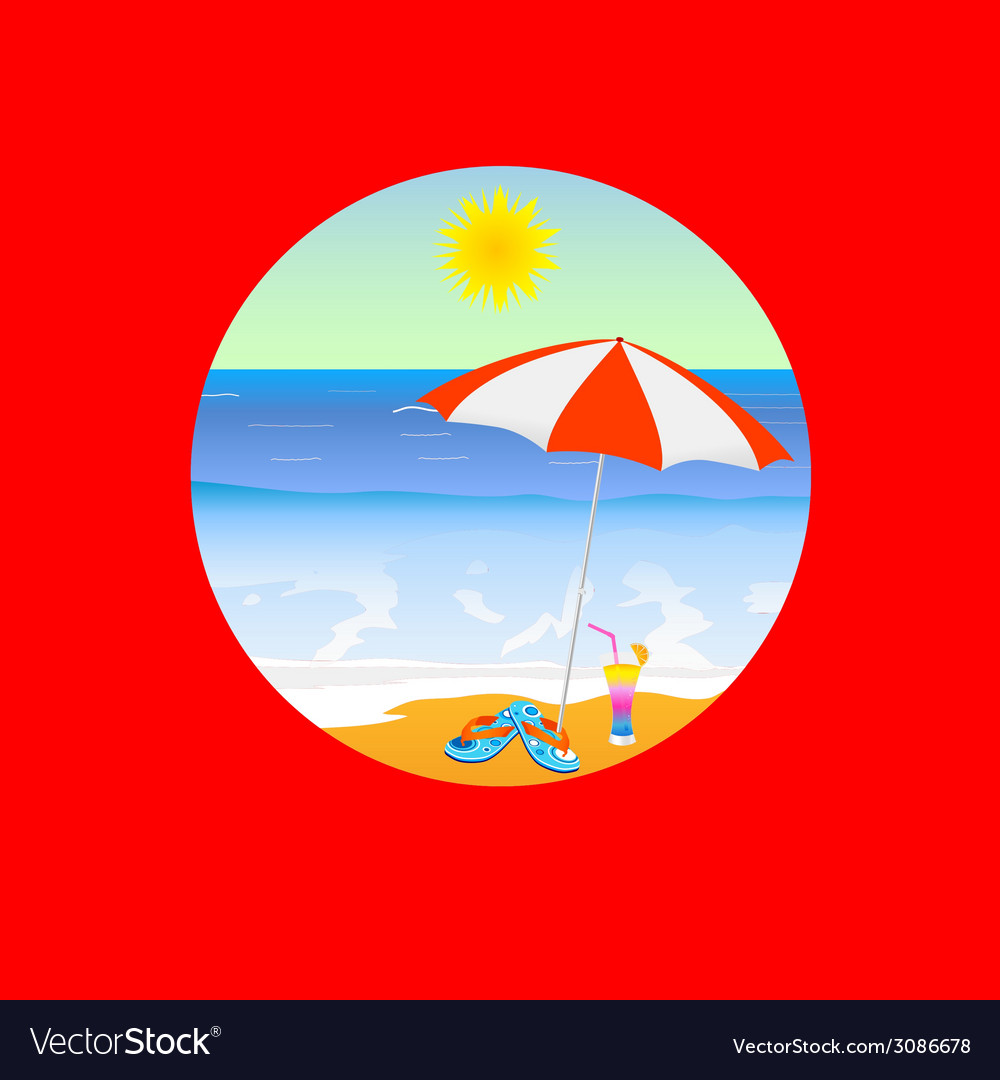 Beach paradise cartoon on a red vector | Price: 1 Credit (USD $1)