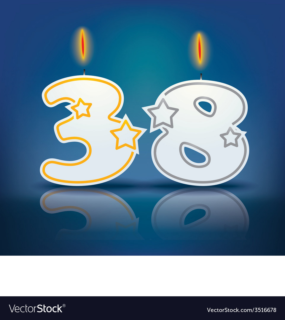 Birthday candle number 38 vector | Price: 1 Credit (USD $1)