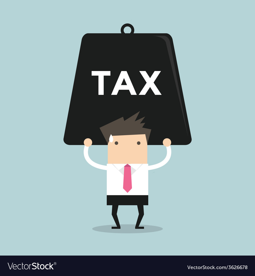 Businessman carrying heavy tax vector | Price: 1 Credit (USD $1)