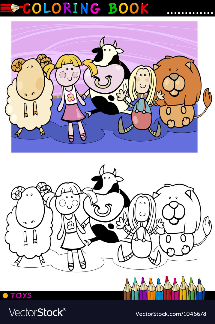 Cartoon cute toys for coloring vector | Price: 3 Credit (USD $3)
