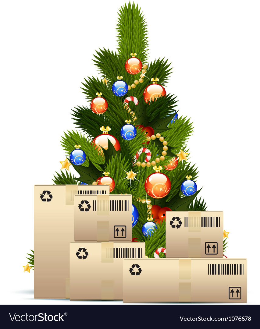 Christmas tree with cardboard boxes vector | Price: 3 Credit (USD $3)