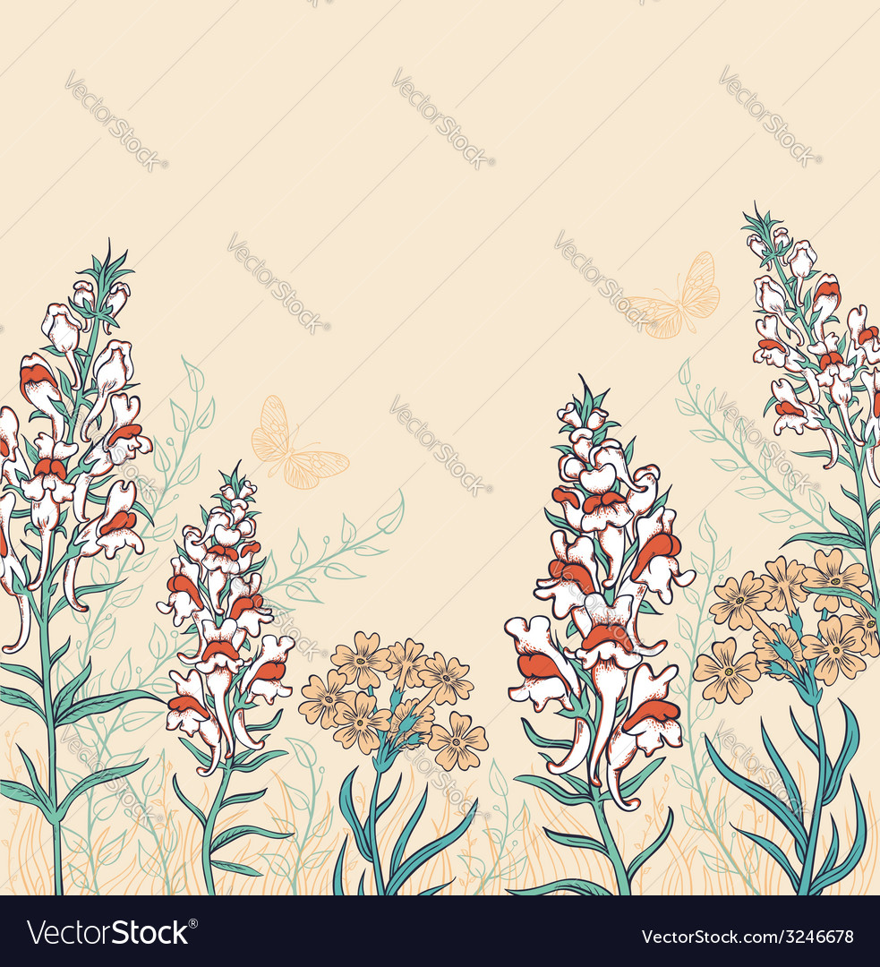 Decorative background with wildflowers vector | Price: 1 Credit (USD $1)