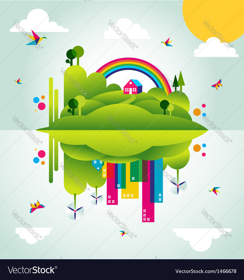 Happy green city spring time concept vector | Price: 1 Credit (USD $1)