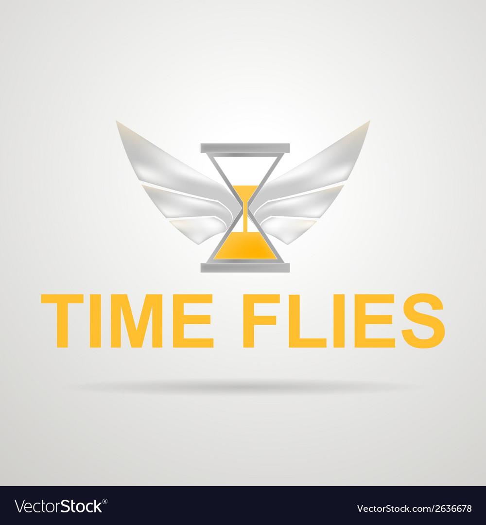 Hourglass with wings time flies vector | Price: 1 Credit (USD $1)