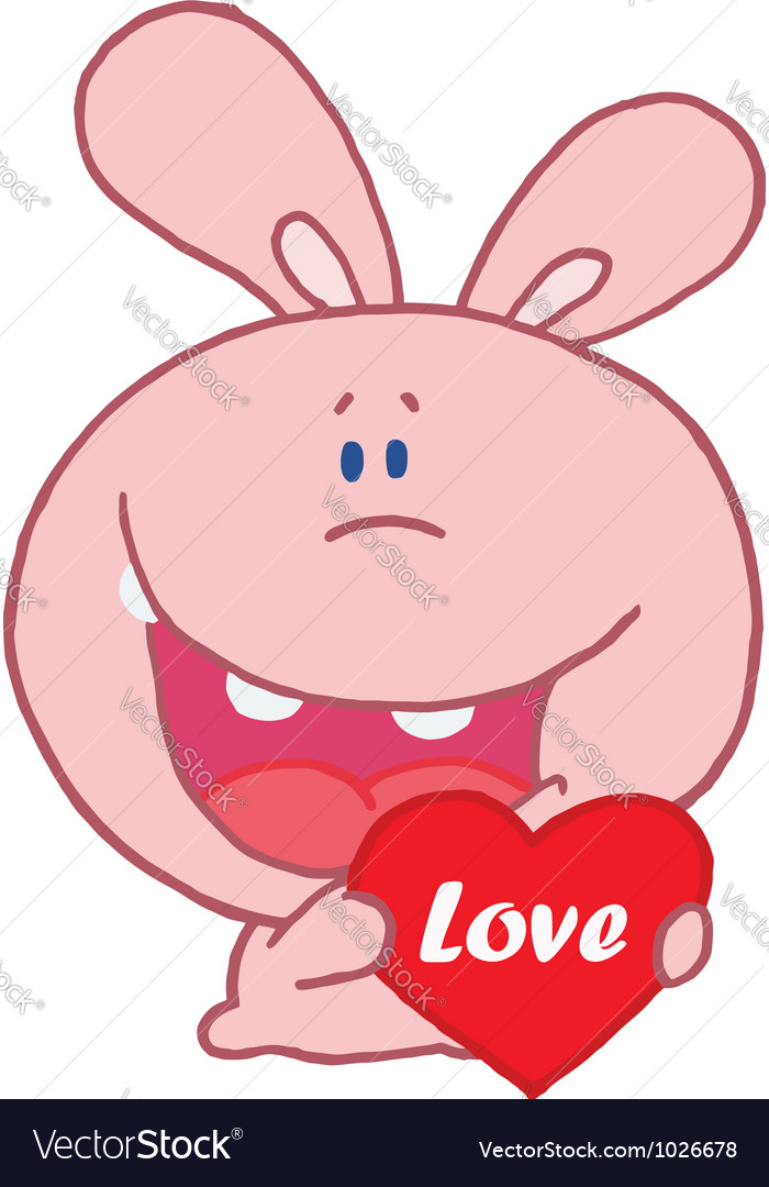 Pink rabbit laughing and holding a red heart vector   Price: 1 Credit (USD $1)