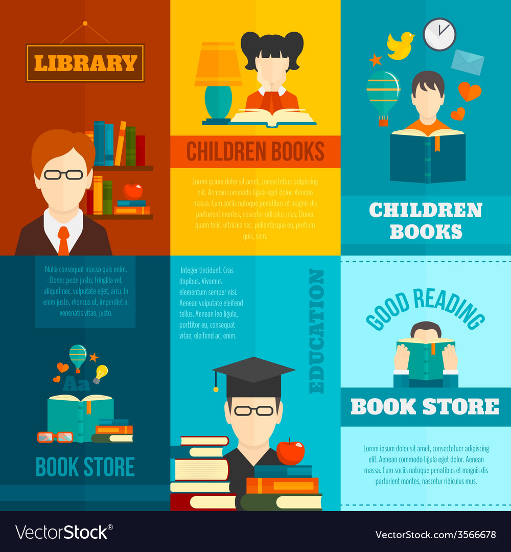 Reading poster set vector | Price: 1 Credit (USD $1)
