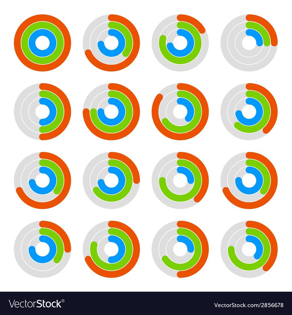 Set of circular colored progress diagram vector   Price: 1 Credit (USD $1)