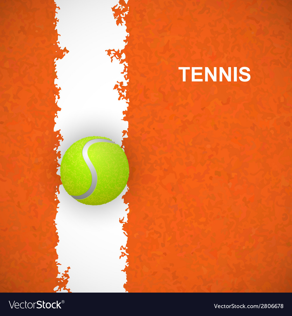 Tennis ball on court vector | Price: 1 Credit (USD $1)