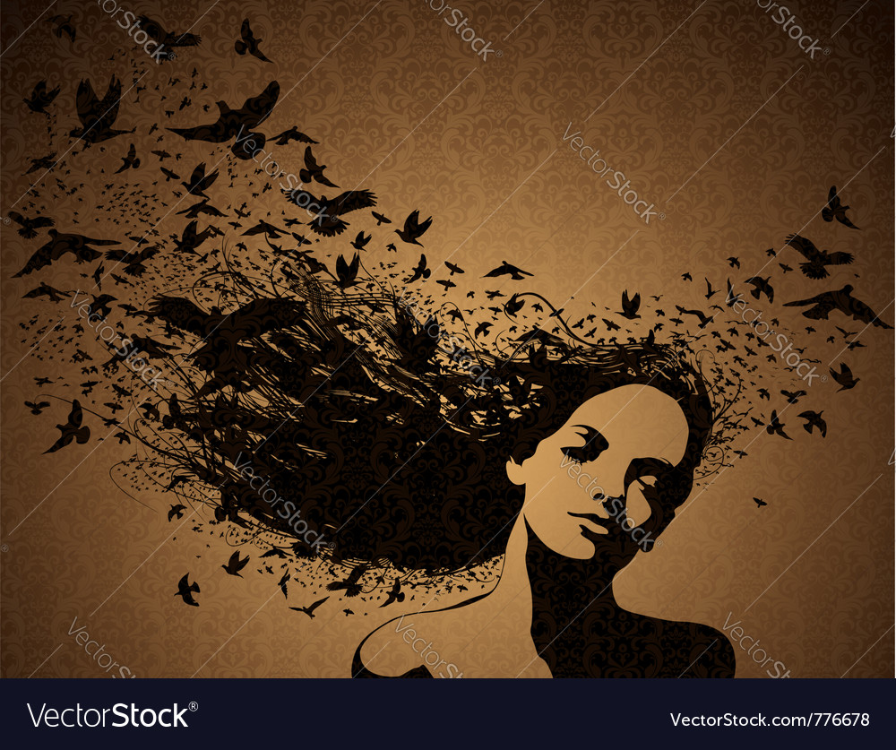 Woman with birds flying from her hair vector | Price: 1 Credit (USD $1)