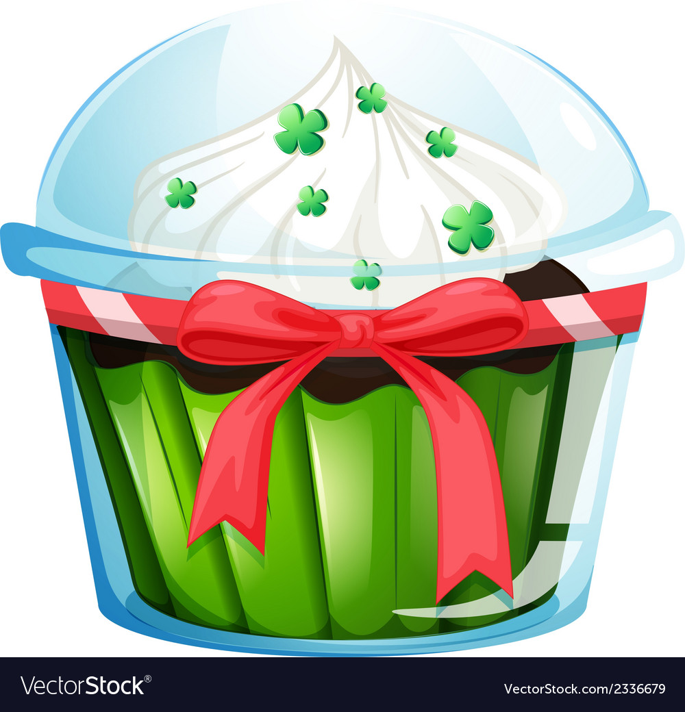 A cupcake container with a green cupcake and a vector | Price: 1 Credit (USD $1)