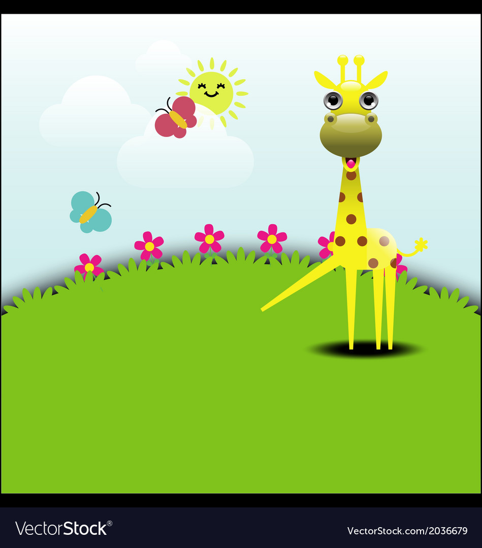Cute giraffe standing in grassland vector | Price: 1 Credit (USD $1)