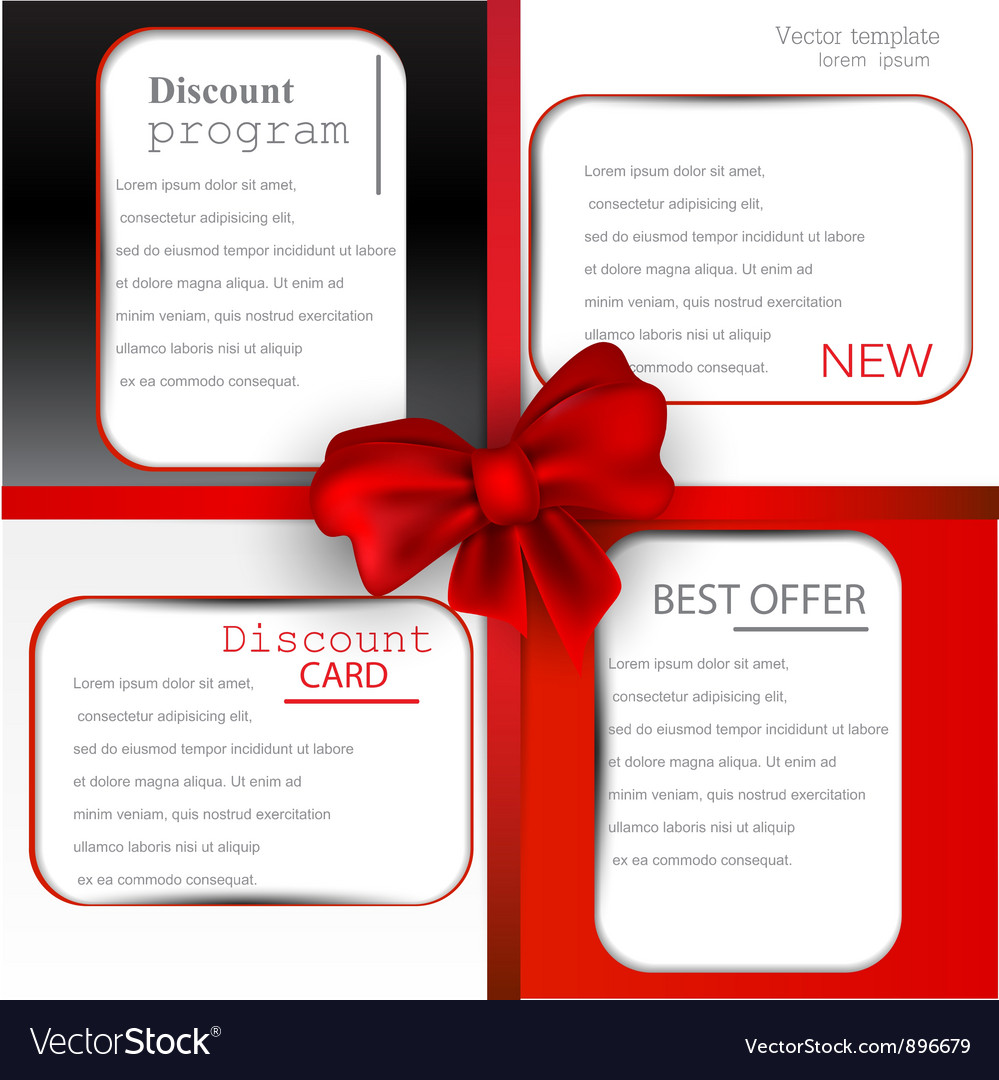 Discount card templates vector | Price: 1 Credit (USD $1)