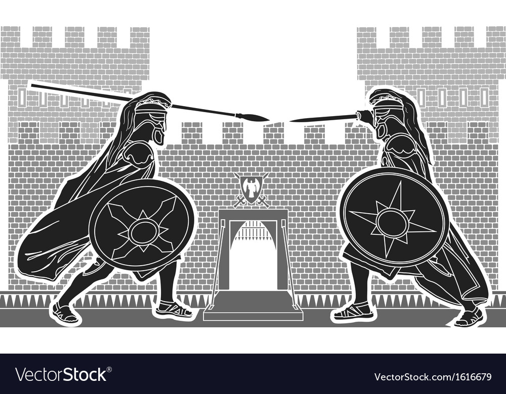 Fight of two knights vector | Price: 1 Credit (USD $1)