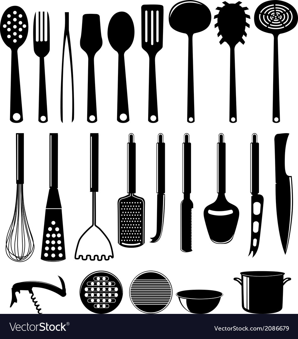 Kitchenware icon set isolated on white vector | Price: 1 Credit (USD $1)