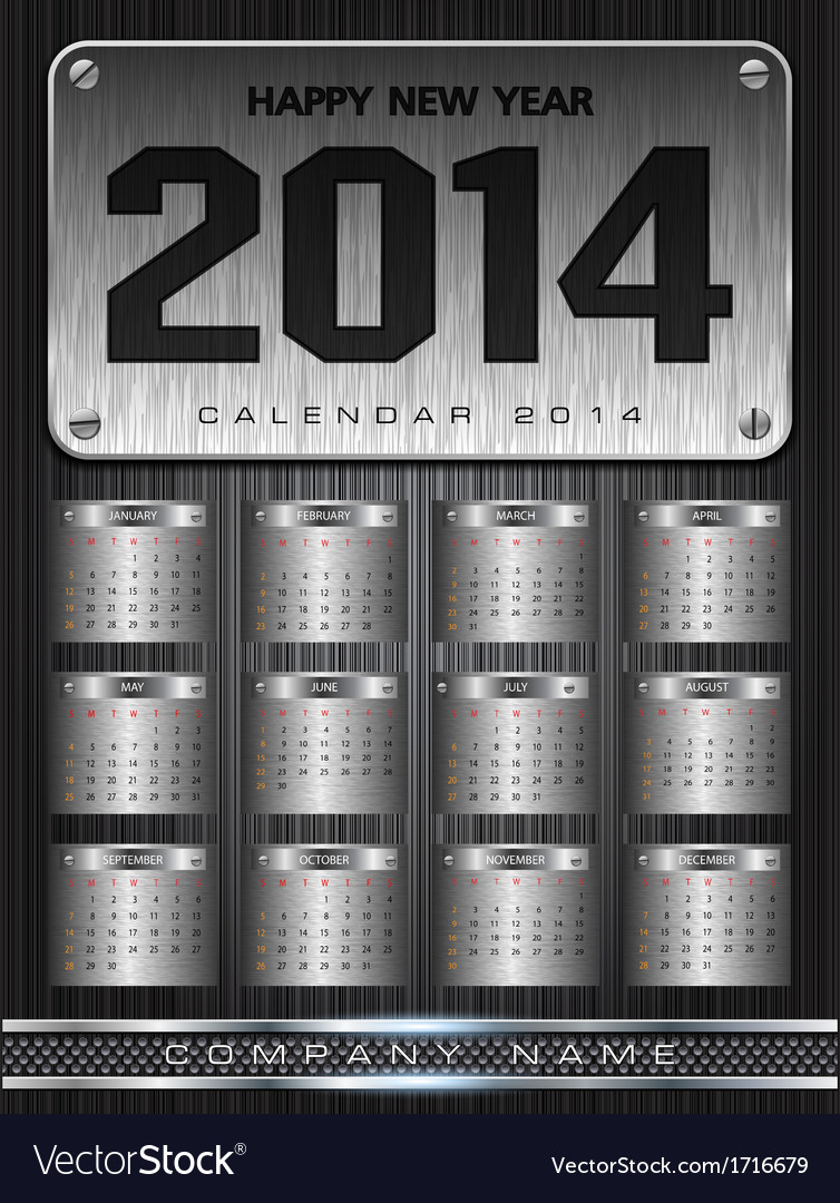 Metal calendar 2014 background design vector | Price: 1 Credit (USD $1)