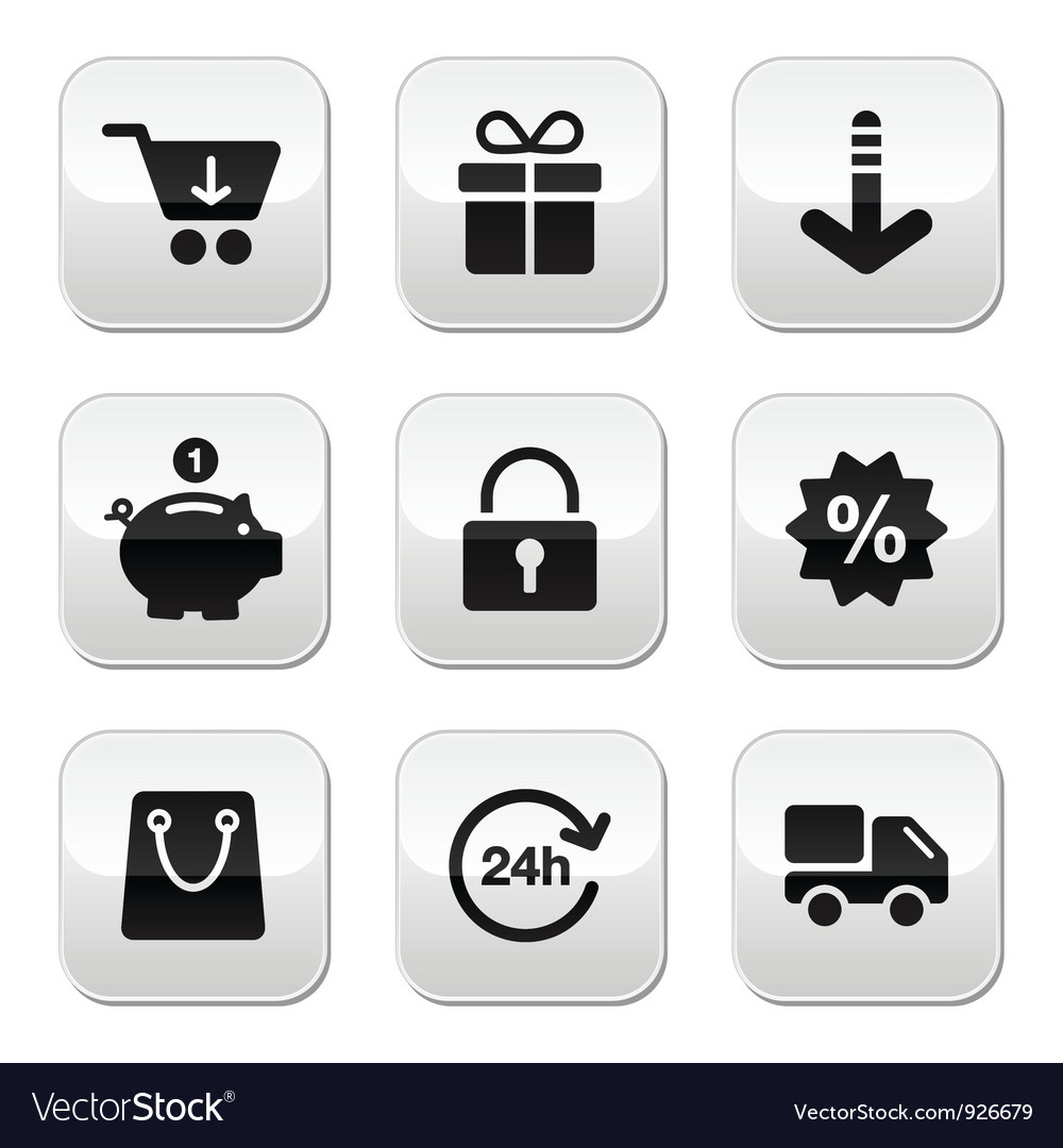 Shopping buttons for website online store vector | Price: 1 Credit (USD $1)
