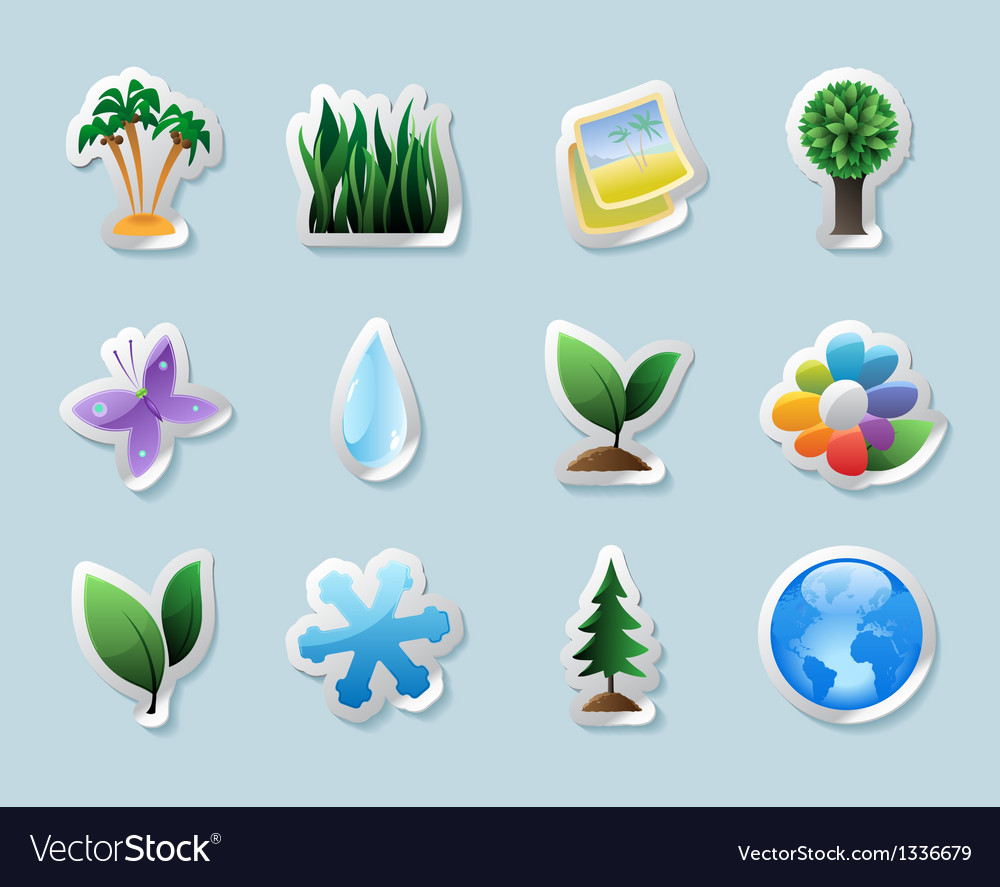 Sticker icons for nature vector