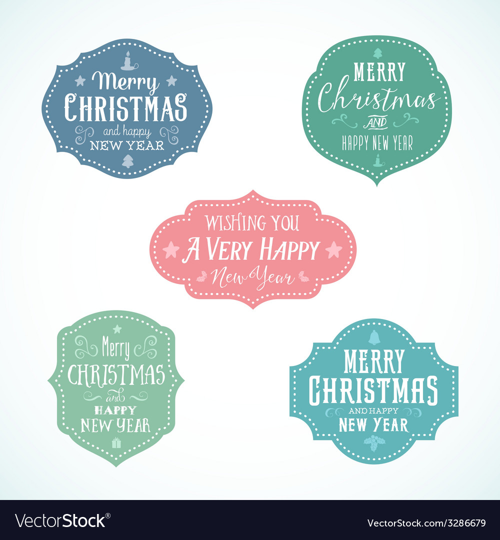 Vintage typography soft color christmas badges set vector | Price: 1 Credit (USD $1)