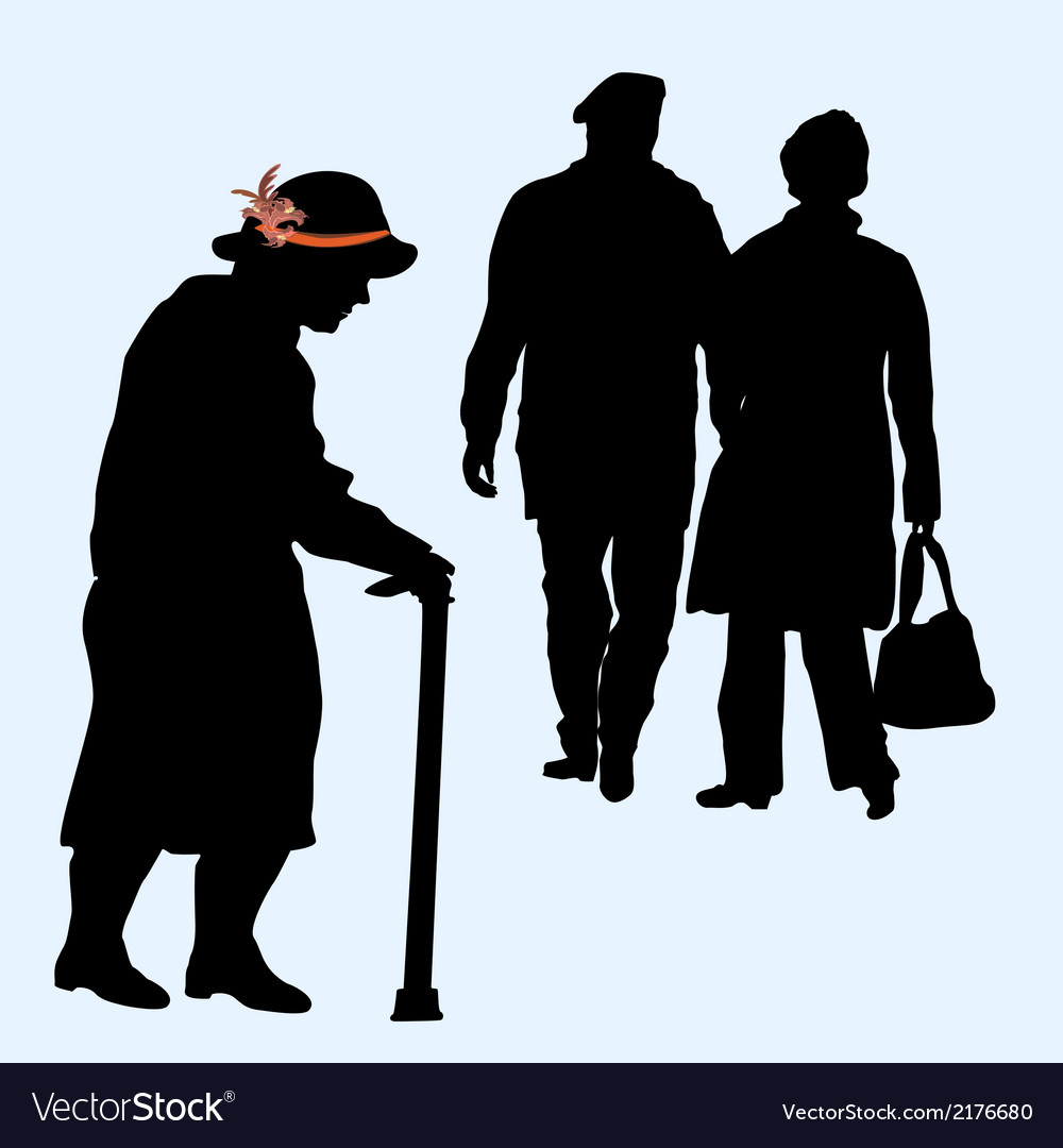 Couples silhouettes running and an old woman vector | Price: 1 Credit (USD $1)