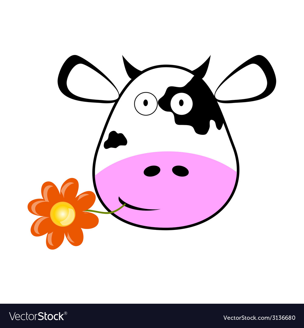 Cow head with a flower vector | Price: 1 Credit (USD $1)