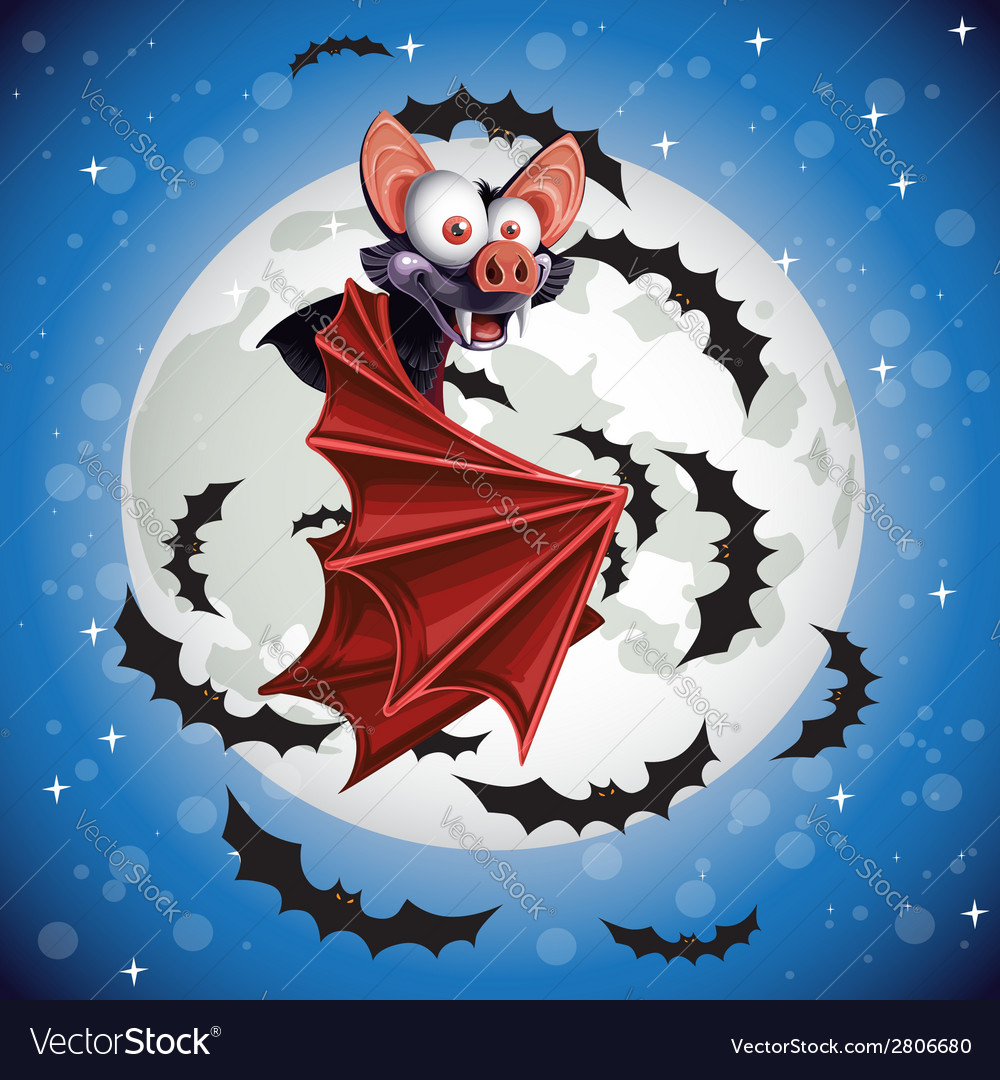 Cute cartoon bat flying in the night sky on the vector | Price: 3 Credit (USD $3)