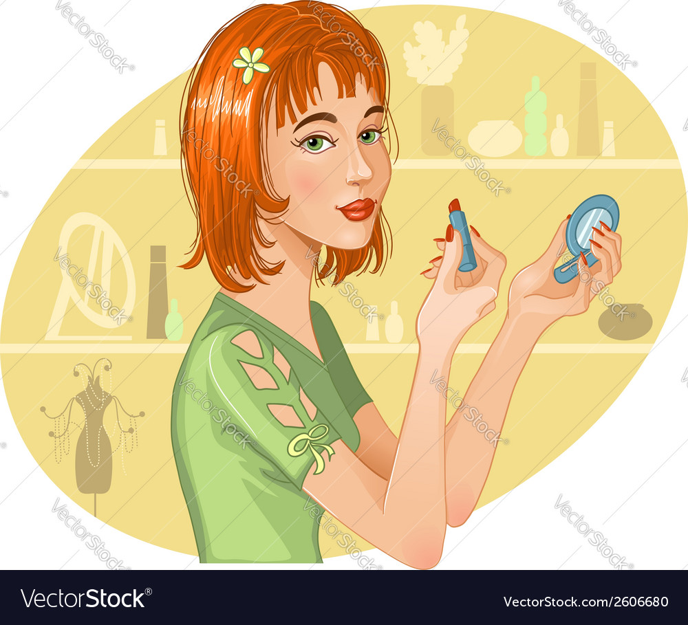 Cute girl doing her make up vector | Price: 1 Credit (USD $1)