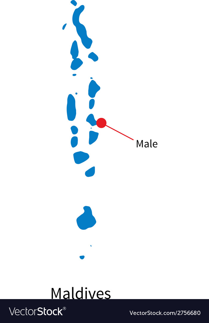 Detailed map of maldives and capital city male vector | Price: 1 Credit (USD $1)