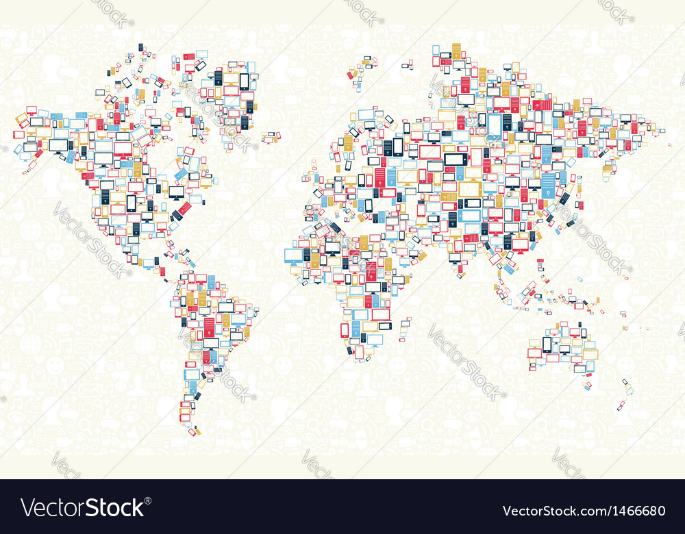 Gadgets icons world map vector | Price: 1 Credit (USD $1)