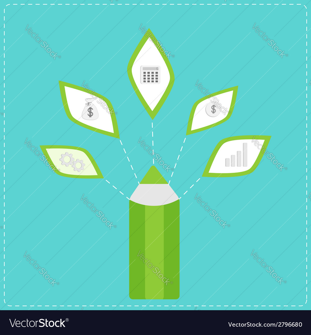 Pencil with business icons dollar money bag idea vector | Price: 1 Credit (USD $1)