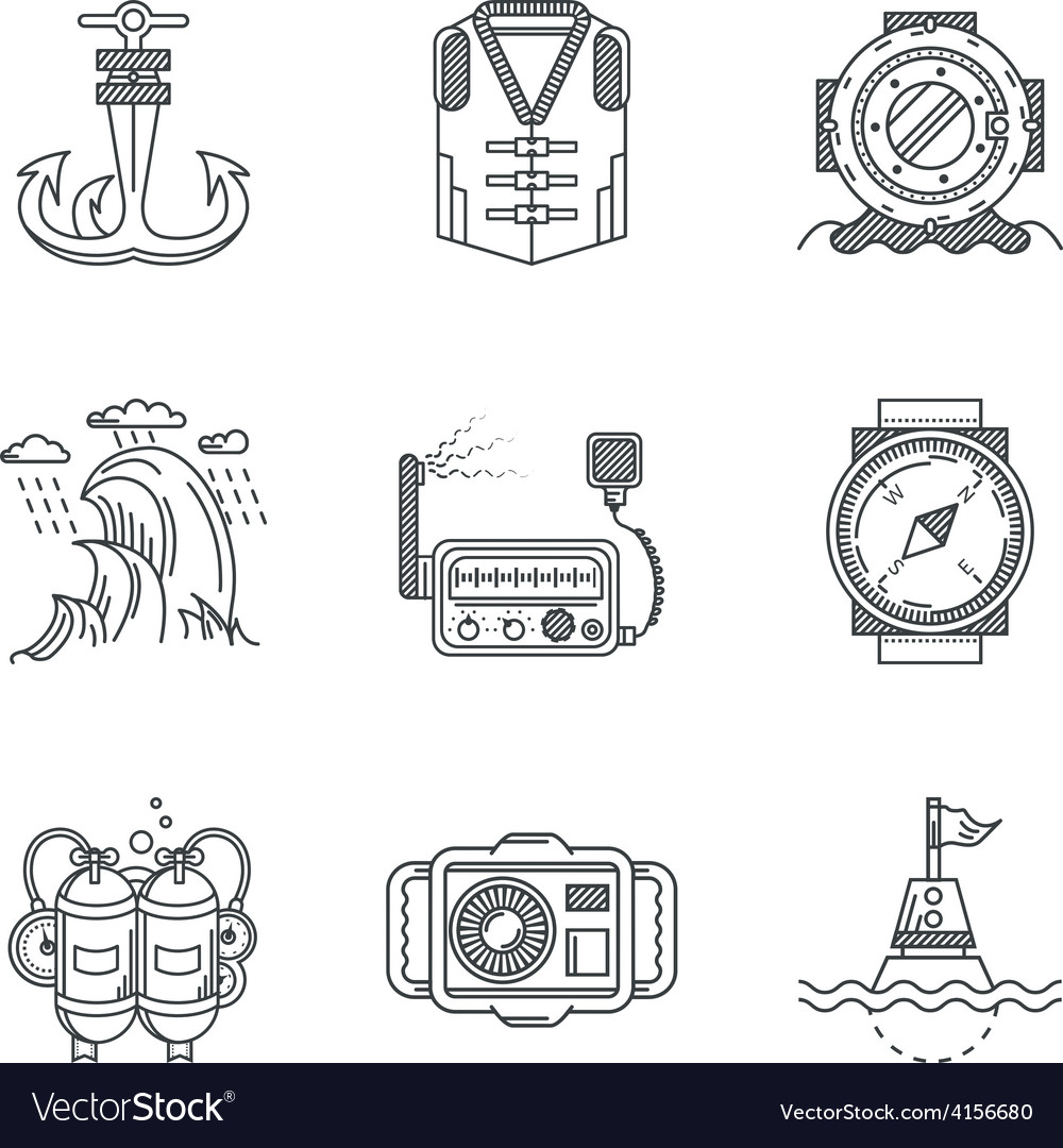 Snorkeling black line icons vector | Price: 1 Credit (USD $1)
