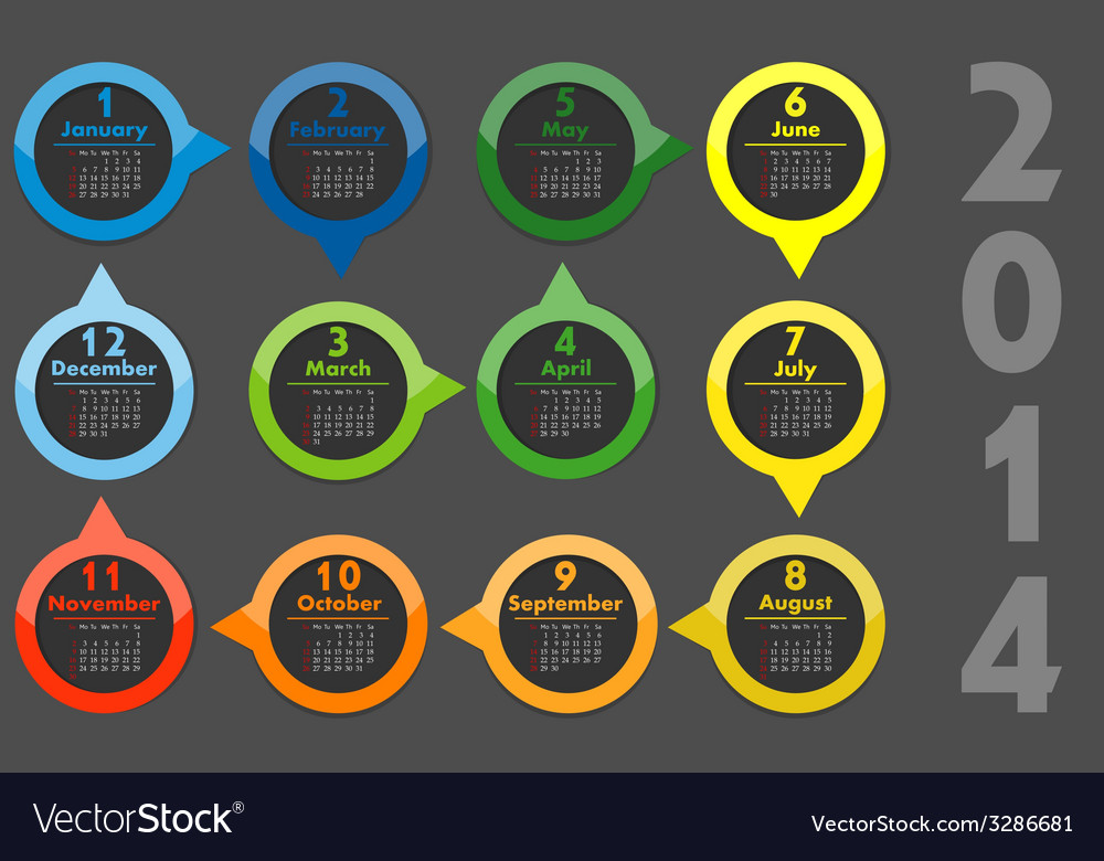 - calendar 2014 vector | Price: 1 Credit (USD $1)