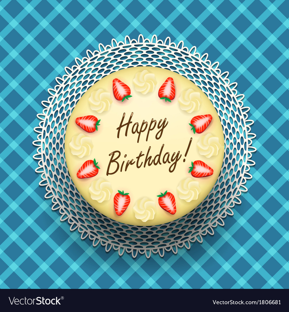 Cheese birthday cake with strawberries vector | Price: 1 Credit (USD $1)