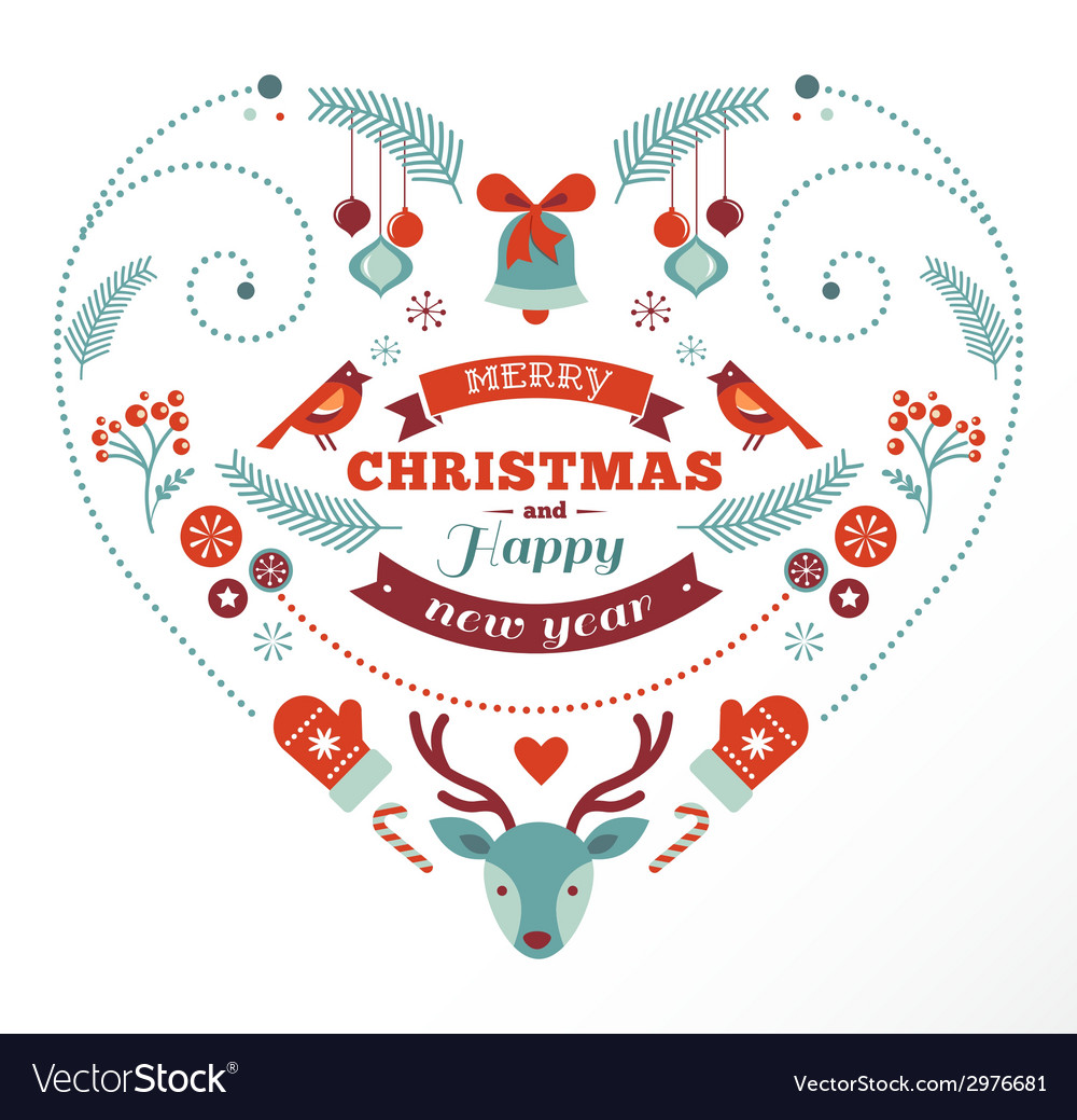 Christmas design heart with birds elements ribbons vector | Price: 1 Credit (USD $1)