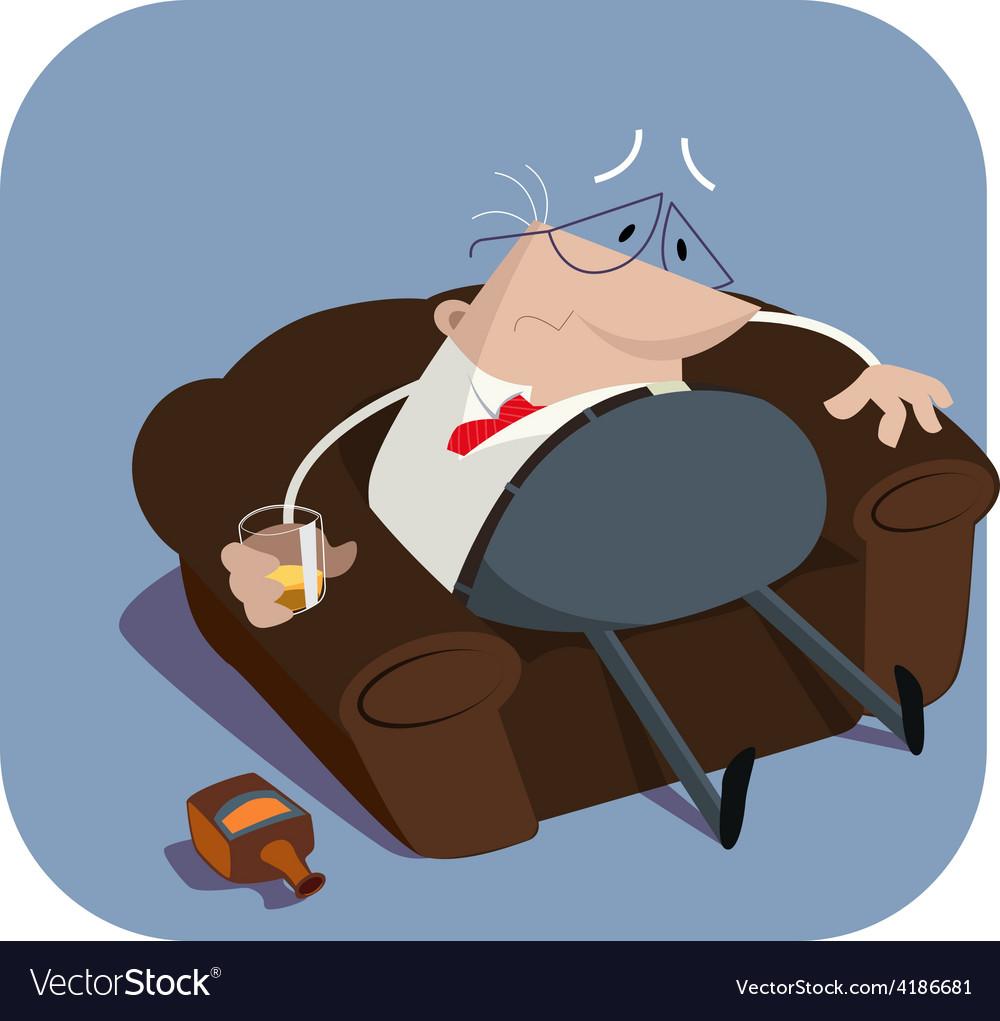 Depressed boss in armchair vector | Price: 1 Credit (USD $1)