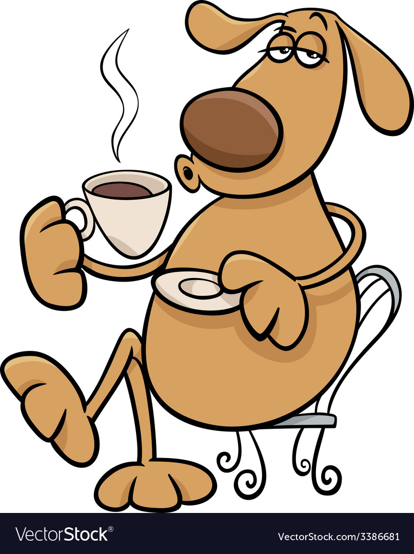 Dog with coffeel cartoon vector | Price: 1 Credit (USD $1)