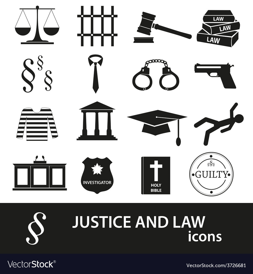 Justice and law black icons set eps10 vector | Price: 1 Credit (USD $1)