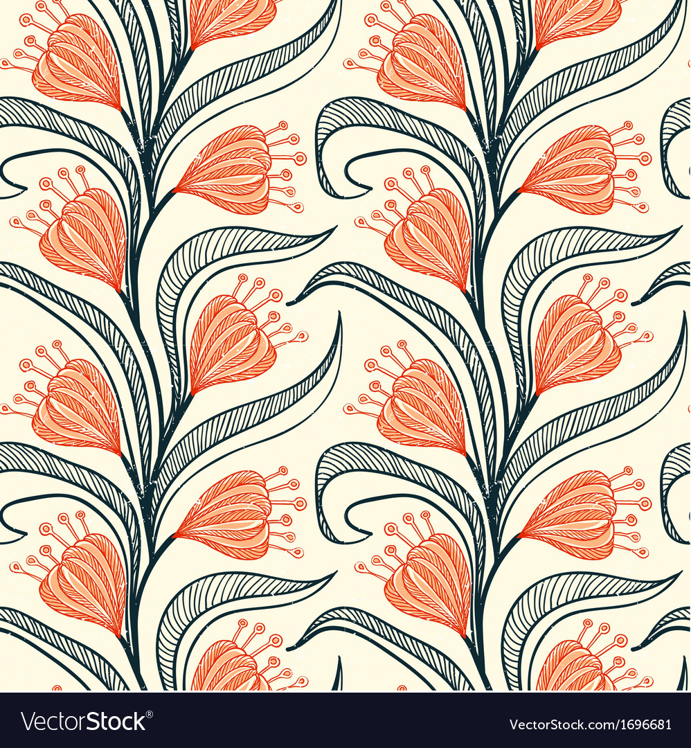 Pattern with stylized drawings of flowers vector | Price: 1 Credit (USD $1)
