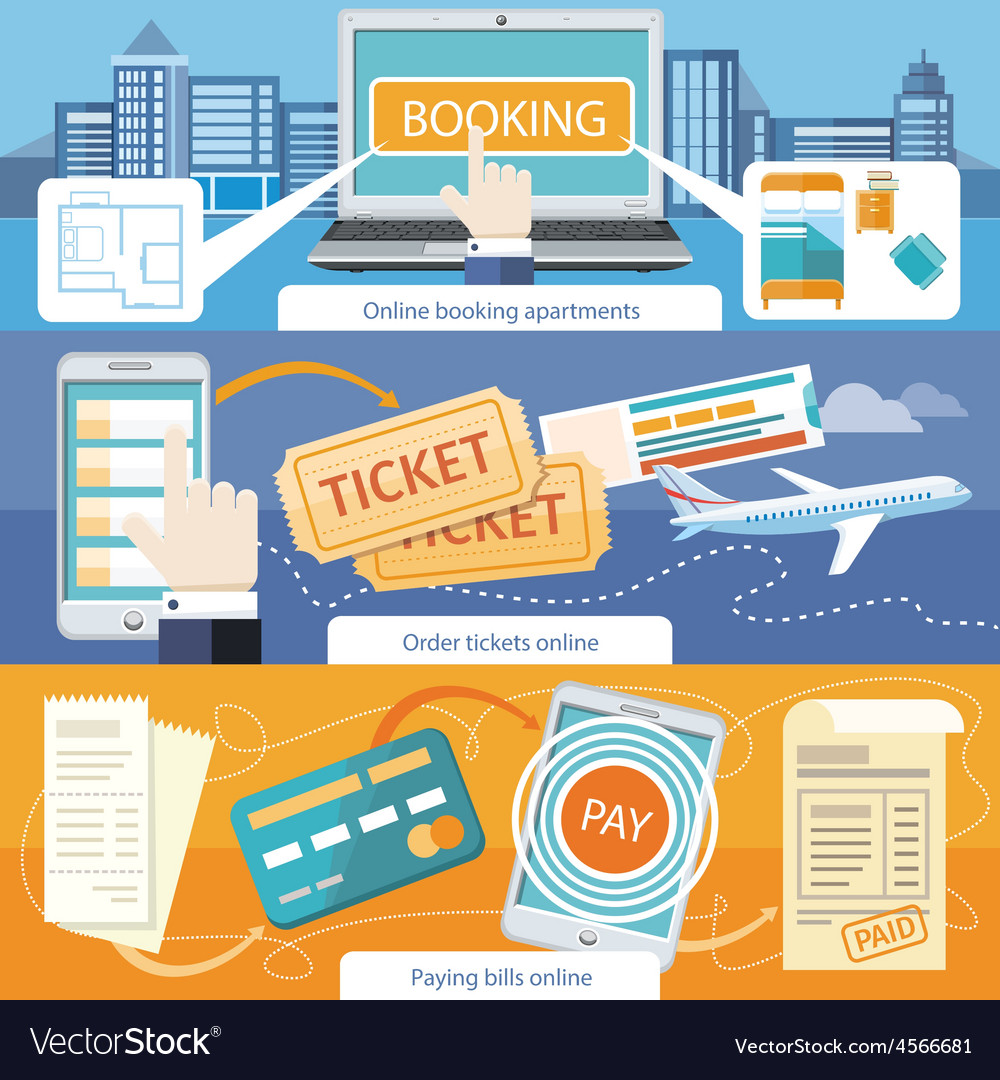 Pay bills online booking apartments order ticket vector | Price: 1 Credit (USD $1)