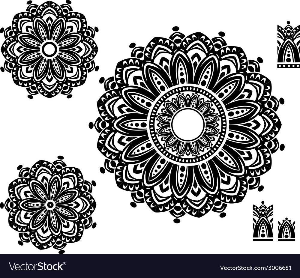Round ornament pattern with pattern brash vector | Price: 1 Credit (USD $1)