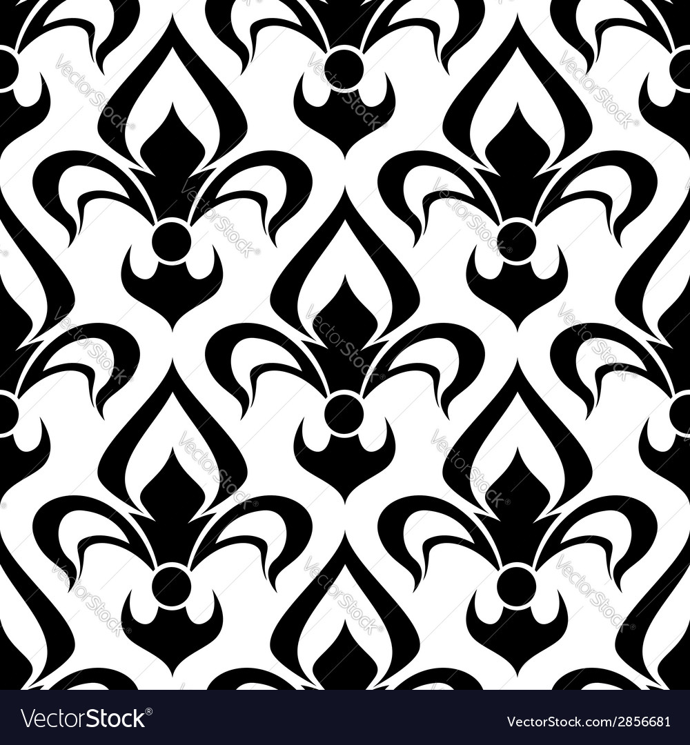Seamless fleur-de-lis royal black pattern vector | Price: 1 Credit (USD $1)